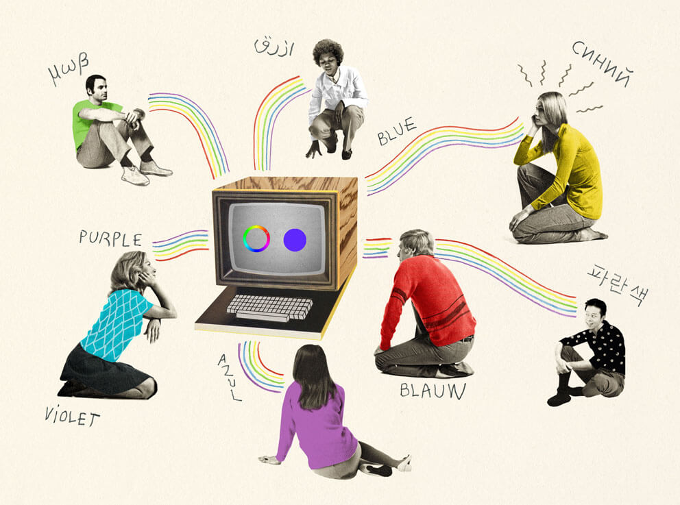 People thinking about colours around a computer (by Valero Doval)